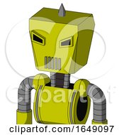 Yellow Robot With Box Head And Vent Mouth And Angry Eyes And Spike Tip