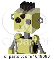 Yellow Robot With Box Head And Toothy Mouth And Three Eyed And Pipe Hair
