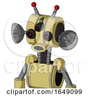 Yellow Droid With Multi Toroid Head And Round Mouth And Three Eyed And Double Led Antenna