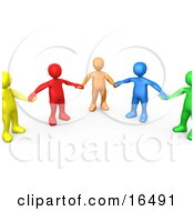 Poster, Art Print Of Support Group Of Colorful And Diverse People Holding Hands And Standing In A Circle