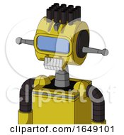 Yellow Droid With Multi Toroid Head And Teeth Mouth And Large Blue Visor Eye And Pipe Hair
