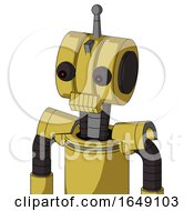 Yellow Droid With Multi Toroid Head And Toothy Mouth And Red Eyed And Single Antenna