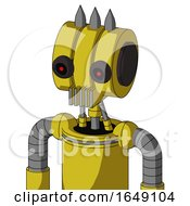 Yellow Droid With Multi Toroid Head And Vent Mouth And Black Glowing Red Eyes And Three Spiked
