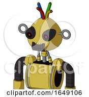 Yellow Droid With Rounded Head And Dark Tooth Mouth And Black Glowing Red Eyes And Wire Hair