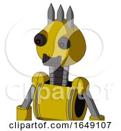 Yellow Droid With Rounded Head And Dark Tooth Mouth And Red Eyed And Three Spiked
