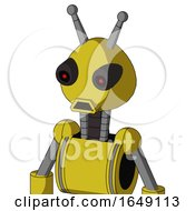 Yellow Droid With Rounded Head And Sad Mouth And Black Glowing Red Eyes And Double Antenna