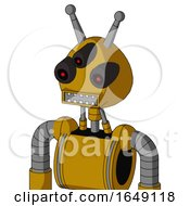Yellow Droid With Rounded Head And Square Mouth And Three Eyed And Double Antenna