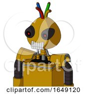 Yellow Droid With Rounded Head And Teeth Mouth And Black Glowing Red Eyes And Wire Hair