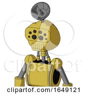 Yellow Droid With Rounded Head And Toothy Mouth And Bug Eyes And Radar Dish Hat