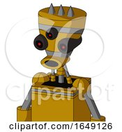 Yellow Droid With Vase Head And Round Mouth And Three Eyed And Three Spiked