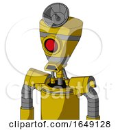 Yellow Droid With Vase Head And Sad Mouth And Cyclops Eye And Radar Dish Hat
