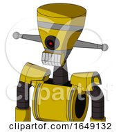 Yellow Droid With Vase Head And Teeth Mouth And Black Cyclops Eye