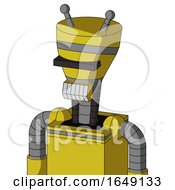 Yellow Droid With Vase Head And Teeth Mouth And Black Visor Cyclops And Double Antenna