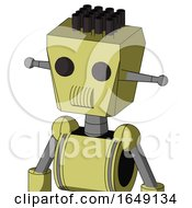 Yellow Robot With Box Head And Speakers Mouth And Two Eyes And Pipe Hair