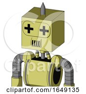 Yellow Robot With Box Head And Speakers Mouth And Plus Sign Eyes And Spike Tip