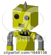 Yellow Robot With Box Head And Speakers Mouth And Red Eyed And Spike Tip