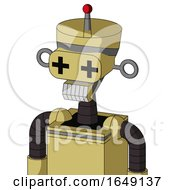 Yellow Droid With Vase Head And Teeth Mouth And Plus Sign Eyes And Single Led Antenna