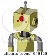 Yellow Robot With Box Head And Cyclops Compound Eyes And Single Antenna