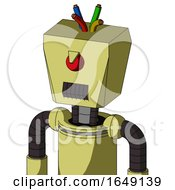Yellow Robot With Box Head And Dark Tooth Mouth And Angry Cyclops And Wire Hair