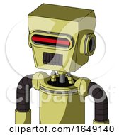Yellow Robot With Box Head And Dark Tooth Mouth And Visor Eye