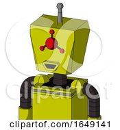 Yellow Robot With Box Head And Happy Mouth And Cyclops Compound Eyes And Single Antenna