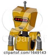Yellow Robot With Box Head And Happy Mouth And Visor Eye And Single Antenna