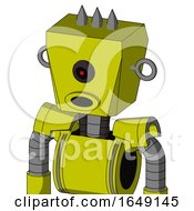 Yellow Robot With Box Head And Round Mouth And Black Cyclops Eye And Three Spiked