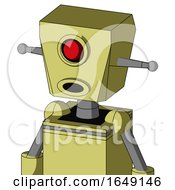 Yellow Robot With Box Head And Round Mouth And Cyclops Eye