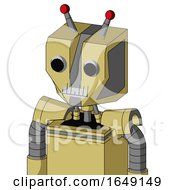 Yellow Droid With Mechanical Head And Teeth Mouth And Two Eyes And Double Led Antenna