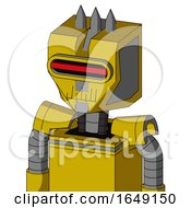 Yellow Droid With Mechanical Head And Toothy Mouth And Visor Eye And Three Spiked