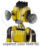 Yellow Droid With Multi Toroid Head And Dark Tooth Mouth And Angry Eyes And Pipe Hair