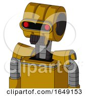 Yellow Droid With Multi Toroid Head And Dark Tooth Mouth And Visor Eye