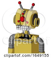 Yellow Droid With Multi Toroid Head And Keyboard Mouth And Cyclops Compound Eyes And Double Led Antenna