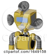 Yellow Droid With Mechanical Head And Teeth Mouth And Large Blue Visor Eye And Radar Dish Hat