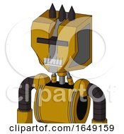 Yellow Droid With Mechanical Head And Teeth Mouth And Black Visor Cyclops And Three Dark Spikes