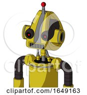 Yellow Droid With Droid Head And Square Mouth And Black Glowing Red Eyes And Single Led Antenna