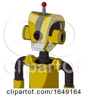 Yellow Droid With Droid Head And Teeth Mouth And Black Cyclops Eye And Single Led Antenna