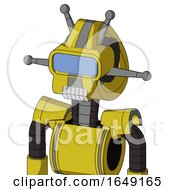 Yellow Droid With Droid Head And Teeth Mouth And Large Blue Visor Eye And Double Antenna