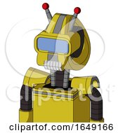 Yellow Droid With Droid Head And Teeth Mouth And Large Blue Visor Eye And Double Led Antenna