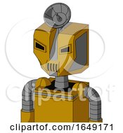 Yellow Droid With Mechanical Head And Speakers Mouth And Angry Eyes And Radar Dish Hat