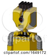 Yellow Droid With Mechanical Head And Speakers Mouth And Black Cyclops Eye And Pipe Hair