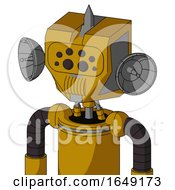 Yellow Droid With Mechanical Head And Speakers Mouth And Bug Eyes And Spike Tip