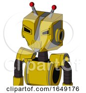 Yellow Droid With Mechanical Head And Speakers Mouth And Angry Eyes And Double Led Antenna