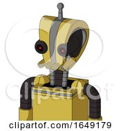 Yellow Droid With Droid Head And Pipes Mouth And Black Glowing Red Eyes And Single Antenna