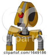 Yellow Droid With Droid Head And Dark Tooth Mouth And Angry Cyclops