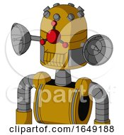 Yellow Droid With Dome Head And Toothy Mouth And Cyclops Compound Eyes