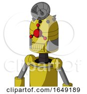 Yellow Droid With Dome Head And Toothy Mouth And Cyclops Compound Eyes And Radar Dish Hat
