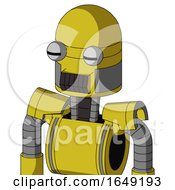 Yellow Droid With Dome Head And Dark Tooth Mouth And Two Eyes