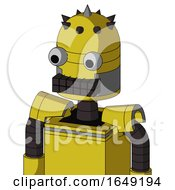 Yellow Droid With Dome Head And Keyboard Mouth And Two Eyes And Spike Tip