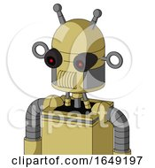 Yellow Droid With Dome Head And Speakers Mouth And Black Glowing Red Eyes And Double Antenna